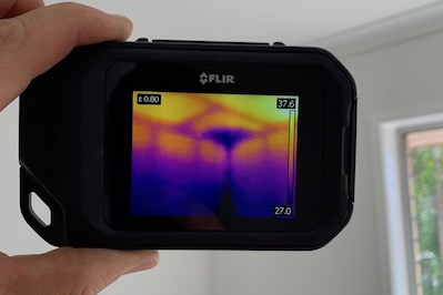 Thermal camera finding termite nest image